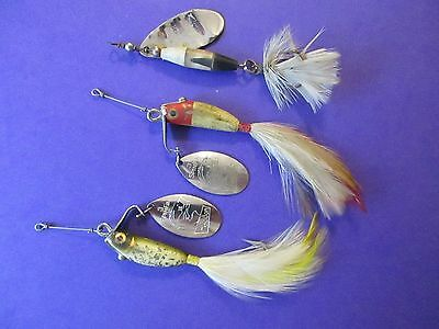 Lot of 2 Vintage Heddon Spin Fin Plus One Shyster Spinner Fishing Lures