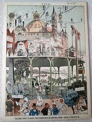 Puck magazine Bidding for the 1883 Exposition full color page 12-1-1880