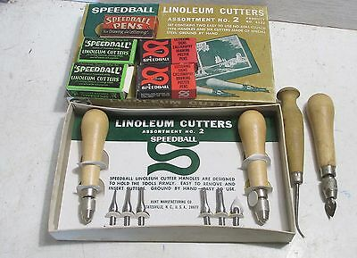 New Speedball #2  Linoleum Cutters Carving Tools 4 boxes of blades+2 used Handle