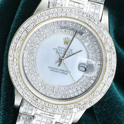 Rolex Daydate 18239 White MOP w/ Princess-cut Diamonds Watch 18k White Gold