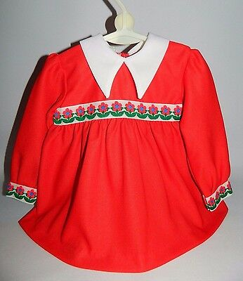 Authentic Vintage Baby Girls 1970's Red Dress With Floral Embroidery Detail