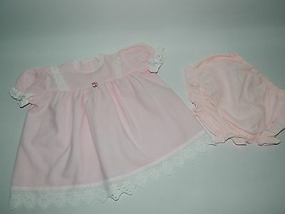 Authentic Vintage Baby Girls Cute Pink Cotton Dress With Matching Pants 0-6 Mth