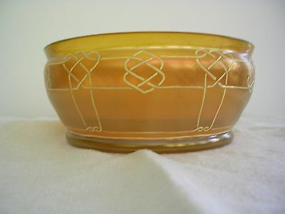 ANTIQUE GOLD IRIDESCENT ART GLASS BOWL with ENAMEL BORDER, UNSIGNED - LOETZ?