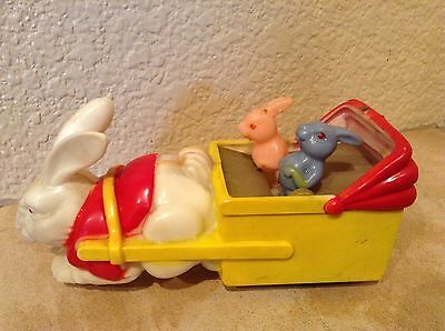 Vintage Easter Plastic Toy Bunny with Bunnies in Cart HONG KONG