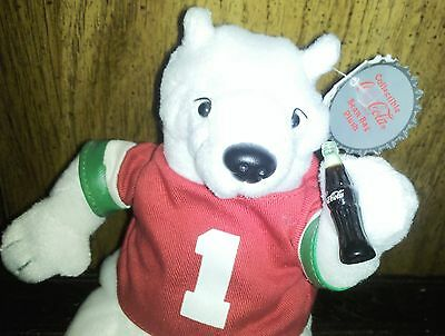 Adorable Coca-Cola Bean Bag Polar Bear  Jersey & Bottle Hang Tush Tags 1999