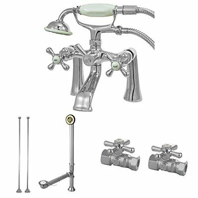 Kingston Brass Vintage Deck Mount Clawfoot Tub Faucet Package in Polished Chrome