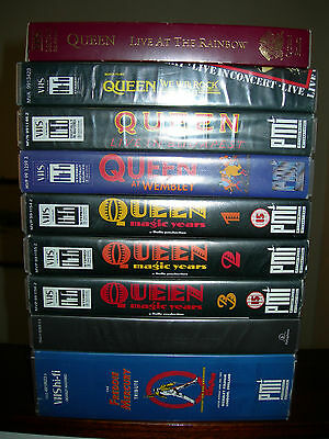 QUEEN VHS Rainbow Montreal Budapest Wembley Magic Years Mercury Tribute Flix CD