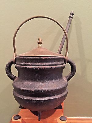 Antique Cast Iron & Brass Fire Starter Oil Pot Kettle With Wand / Fireplace Tool