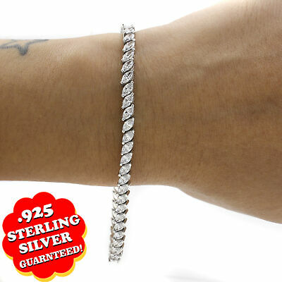 Holiday Sale 5.50 cttw D/VSS1 Marquise Diamond 14K Gold Over Tennis Bracelet