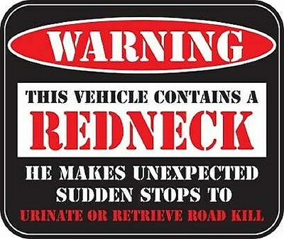 WARNING REDNECK Motorcycle Helmet Vehicle Car Truck Window Decal Sticker