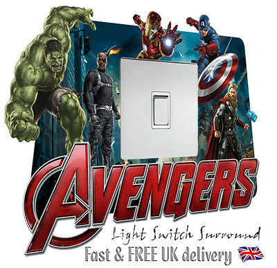 MARVEL AVENGERS light switch surround sticker / decal - self adhesive vinyl