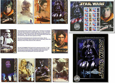 STAR WARS STAMPS & POSTCARDS Pac Ltd. Edition 25th Anv. Yoda Fisher Leia Ford