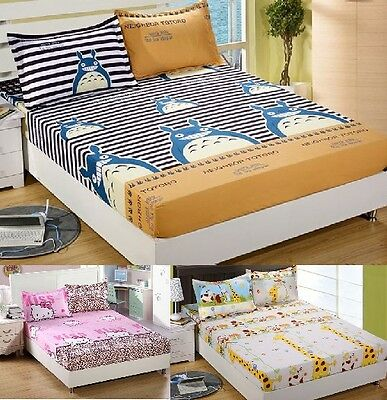 Cartoon Students kids Soft Bedding Fitted Sheet Double King Size & Pillowcases