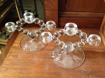 Pair of imperial candlewick #400-147 Hughes cornflower  glass candle holders