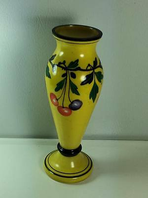 Czechoslavakian tango art glass vase hand painted