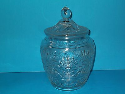 """Clear Glass Flower Design Cookie Jar with Lid 10"""""""