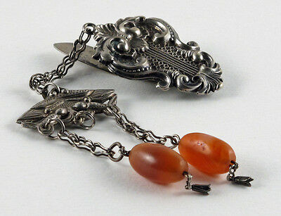 Antique Chinese Silver and Carnelian Chatelaine
