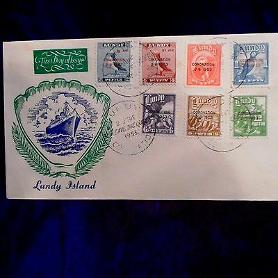 Lundy Island 1953 Coronation QEII  Sea Shell Cachet  Overprints Puffin FDC unadd