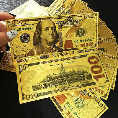 50PCS 24K Gold Foil Dollars New $100 Banknotes Collections Home Decor Arts Gift