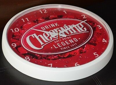 Official Cheerwine Legend Soda Soft Drink Wall Clock - Battery Powered