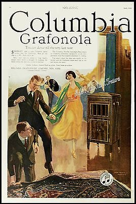 1920 COLUMBIA GRAFONOLA Phonograph Wild Dancing Kicking the Rug BIG Vtg PRINT AD