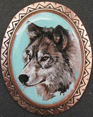 grey wolf wearable art southwestern pin