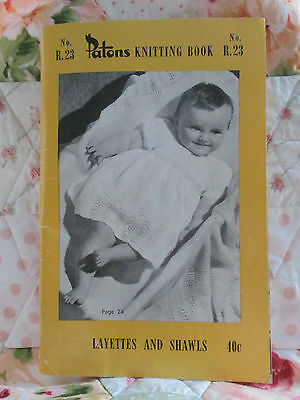 Vintage Patons Knitting Pattern Book R23 ~ Layettes And Shawls