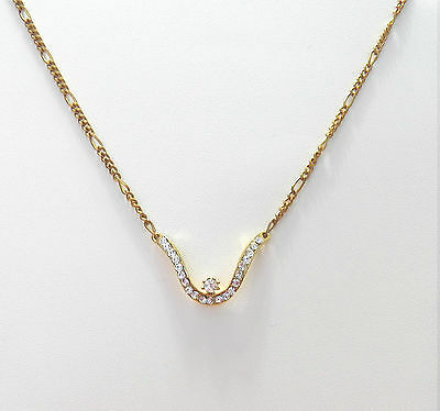 Very Lovely Necklace With Clear White Crystals & A Figaro Yellow Gold Tone Chain