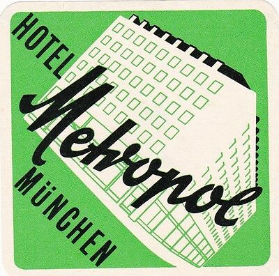 Germany Muenchen Hotel Metropol Vintage Luggage Label sk2577