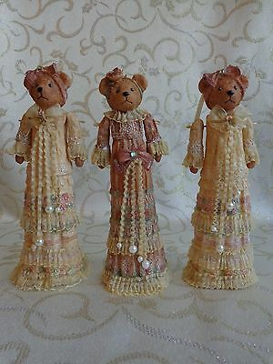 Victorian Lady  Girl Bear - Christmas Ornament - Resin - Lot of 3