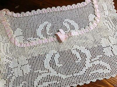 Antique Lace Bodice  Crocheted Off White Floral Pink Ribbon Insert