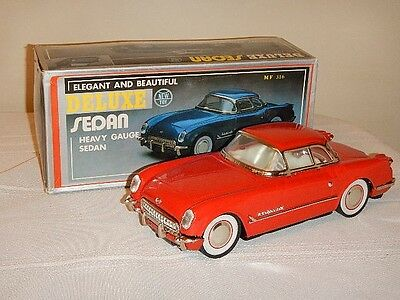 Vintage  DELUXE  HEAVY GAUGE TOY  FRICTION CAR 1953 Red CORVETTE Coupe  NIB