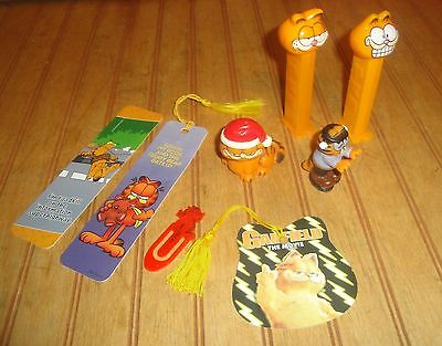 Lot of Garfield The Cat Toys PVC Santa Figure, Frankenstein, PEZ, Bookmarks etc.