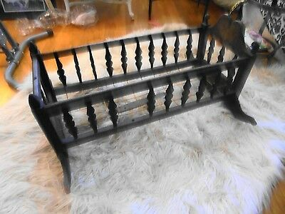 "Very Rare Antique Wooden Hand Carved Baby Crib 31 3/4"" X 13"""