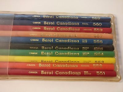 Set 10 Vintage Berol Canadiana Prismacolor Plastic Case Colored Pencils Crayons