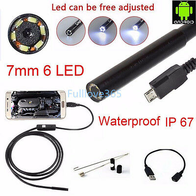 1M - 5M Android 6LED 7mm Lens Endoscope Waterproof Inspection Borescope HP