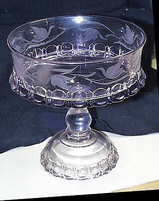 Circa 1910 Large Pressed Glass Pedestal Compote Etched Swans Turning Purple Heav