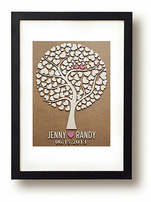 Wooden Tree Wedding Guest Book personalized  Wedding guestbook with 110 heart