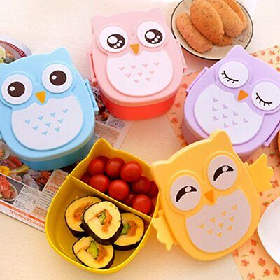 1050ML Owl Lunch Box Bento food-safe Plastic Food Picnic Container Portable XP