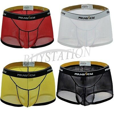 Breathable Men's Mesh Boxer Briefs Underwear Underpants Transparent Swim Trunks