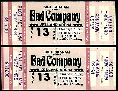 2 Unused Consecutive Numbers Bad Company Rock Music Concert Ticket May 13th 1976