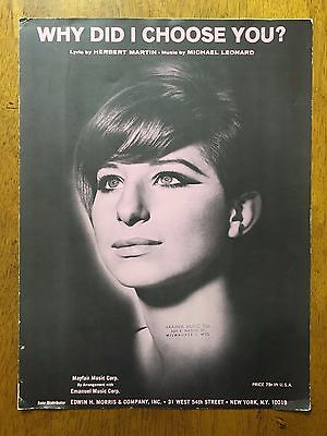 Why Did I Choose You? by Herbert Martin 7 Michael Leonard music sheet 1965