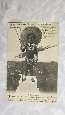 A Black Cupid, Young Black Child  With Bow & Arrow Posted 1904