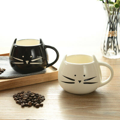 Ceramic Cat Mug White/Black Food Grade Ceramic Coffee Milk Tea Mug Cup LOT HP