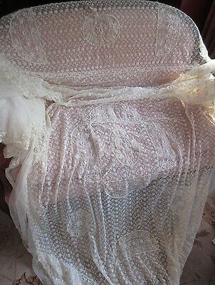 Antique Tambour Net Lace Embroidered Organdy Bed Spread Coverlet Cutter or Use