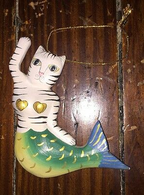 Mermaid Cat Christmas Tree Ornament With Fish Tail Black And White Stirped