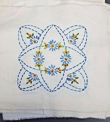 16 Vintage Cotton Embroidered Quilt Blocks Marigold ~Variegated Blues & Greens