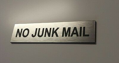 - NO JUNK MAIL - SMALL LASER ENGRAVED LETTERBOX SIGN 8cm x 2cm silver