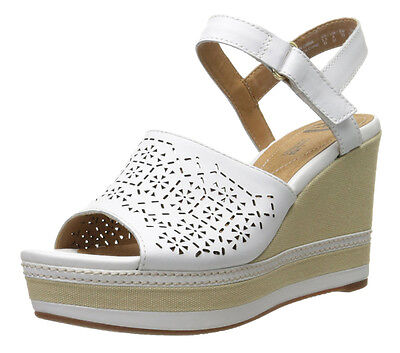 dafd1a42e97 New Clarks Collection ZIA GRAZE Platform Wedge Women Leather Sandals Size  9.5
