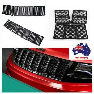 3Pcs Black Front Honeycomb Matte Mesh Grille Insert Kit For Jeep Grand Cherokee